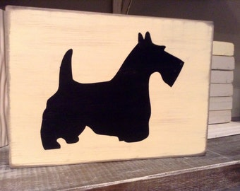 Weathered Wood Sign - The Scottie Dog