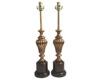 Hollywood Regency Brass Swirl Table Lamps, Pair