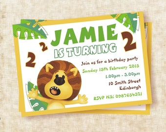 Raa Raa the Noisy Lion - Personalised A5 Birthday Party Invitation *Digital File*
