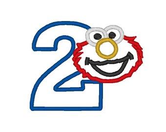 Elmo Second Birthday Applique Design