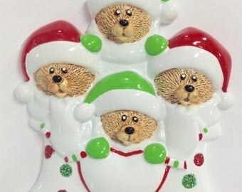 4 Bears in a Stocking Personalized Ornament