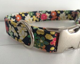 Floral Dog Collar - Metal Buckle - Female Dog Collar