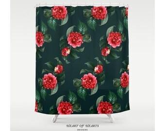 Shower Curtain, Floral Vintage Shower Curtain, Floral Bathroom Decor, Home Decor