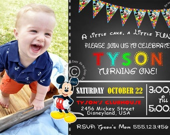 Mickey Mouse Birthday Invitation - Mickey Mouse Birthday Party Invite