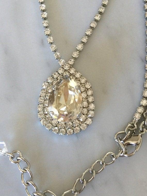 Large Pear Cut Swarovski Silver Shade Crystal Bridal, Cocktail Necklace