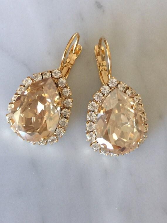 Large Pear Cut Swarovski Crystal Golden Shadow Bridal, Cocktail Earrings