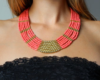 Coral and Gold Multistrand Statement Necklace Beach Jewelry Coral Necklace Coral Jewelry Coral and Gold Necklace Summer Jewelry Beaded Jewel