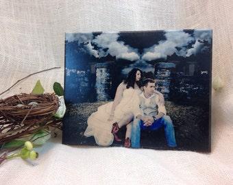 8x10 Photo Custom Printed on Solid Wood Block with Beveled Edge