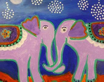 Original Purple Elephants in Love