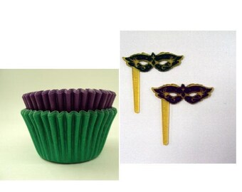 Mardi Gras Mask Picks with Purple & Green Baking Cups