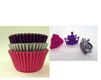Princess Crown Rings with Assorted color Baking Cups