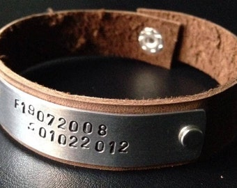 Leather Cuff Bracelet Personalised Hand Stamped: Perfect for Father's Day Black