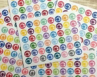 Television Stickers! Set of 48, for your Erin Condren Life Planner, Plum Planner,  Filoflax, calendar or scrapbook!