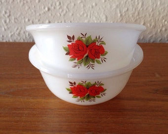 Kitsch Phoenix Opalware Bowls With Rose Design Circa 1970's