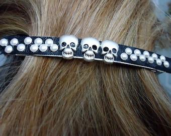 Skull Barrette Halloween Hair Accessory Punk Barrette Skulls Unusual Barrette Large Hair Clip #PR25
