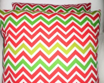 Red Green Christmas Pillow Covers, Holiday Decorative Throw Pillow, Cushion Cover, Red Green Holiday Pillow, Chevron, One or More All Sizes