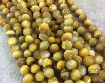 Yellow Tigers Eye Round Bead Strand, 8mm, approx. 50 beads per strand