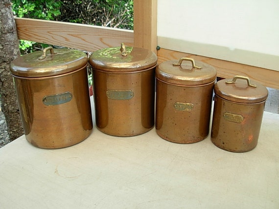 vintage metal kitchen canisters vintage kitchen metal copper canisters w brass by 22596