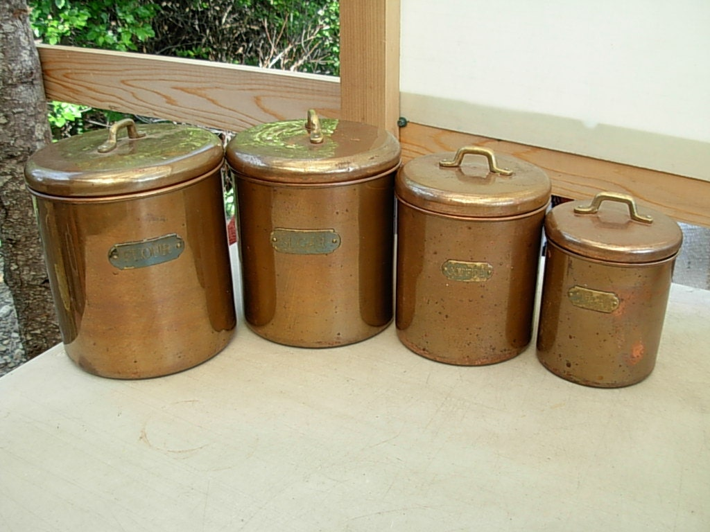 Vintage Kitchen Metal Copper Canisters W Brass by