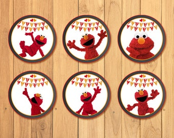Elmo Cupcake Toppers Chalkboard * Elmo Birthday * Elmo Stickers * Elmo Favors