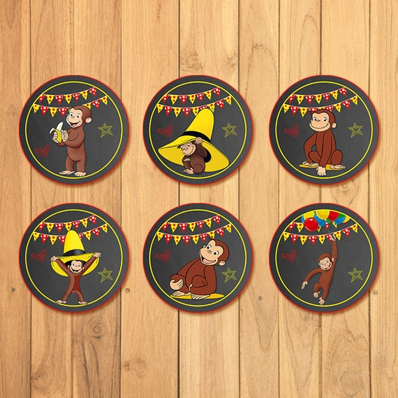 Curious George Cupcake Toppers Chalkboard * Curious George Birthday * Curious George Cake Topper * Curious George Favors