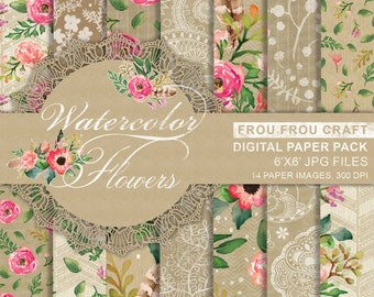 Watercolor Flowers Digital Paper Pack Instant Download Kraft Paper Brown Old Craft Texture Personal Use Pink Floral Romantic 6x6 inches