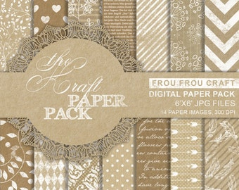 Kraft Paper Digital Paper Pack Instant Download Craft Brown Old Texture Background White Garden Floral Damask Polka Dots  6x6 inches