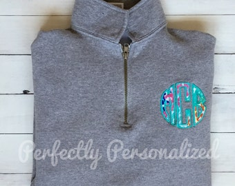 Lilly Pulitzer Fabric Circle Applique Monogrammed Pullover Quarter Zip Sweatshirt