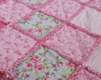 Handmade Pink Ribbon Floral Flannel Rag Quilt BlanketThrow
