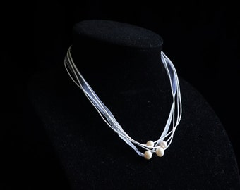 WHITE RIBBON Necklace with Freshwater Pearls ~ Freshwater Pearls ~ Made in the USA
