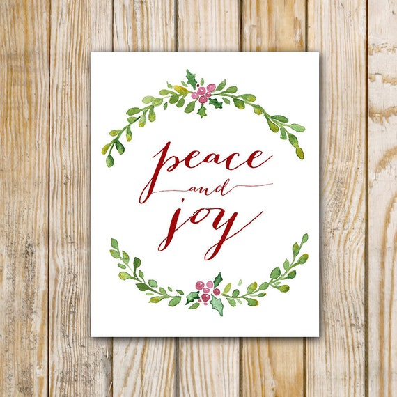Peace And Joy Watercolor Painting 8 X 10 By PrintableGrace