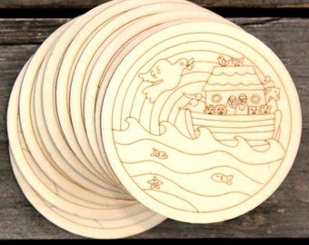 10 x Wooden Noah 's Ark and Flood Christian Image Disks Craft Shape 3mm Ply