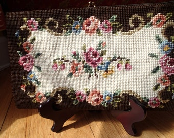 Gorgeous Vintage Chocolate Brown Floral Clutch.  LOVE!