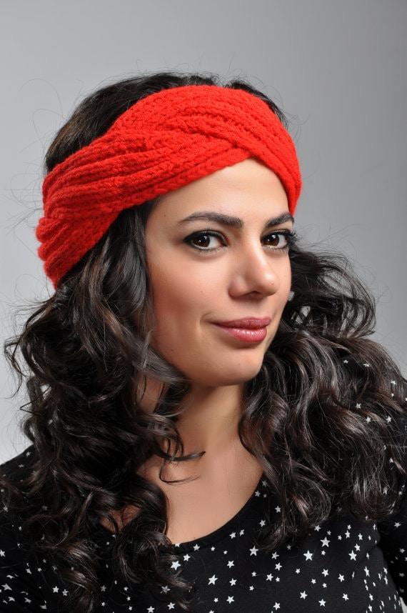 Hand knit Headband Chunky Headband Ear Warmer Cabled Headband Head ...