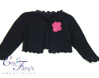 Baby Knitted Sweater, Toddler Knitted Sweater, Baby Shrug, Girls Sweater, handmade short style. Perfect gift for the Holidays.