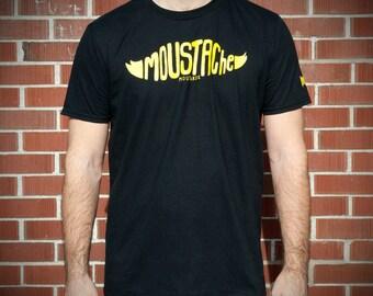 T-shirt Moustache Jaune Hommes Femmes Moustache Moutarde