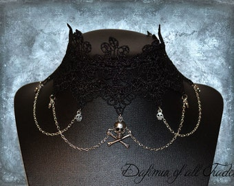 Choaker Pirate skull cross bone Gothic Necklace victorian black lace