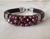 Dark Brown Licorice-Style Leather Bracelet with Burgundy Wine Freshwater Pearls