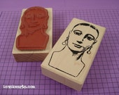 Santa Clara Face Stamp / Invoke Arts Collage Rubber Stamps