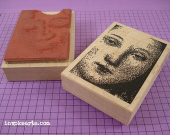 Mary Close-Up Stamp / Invoke Arts Collage Rubber Stamps
