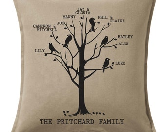 Gorgeous CUSTOM printed personalised FAMILY TREE Cushion Heirloom Keepsake Special Gift Variety of Colours