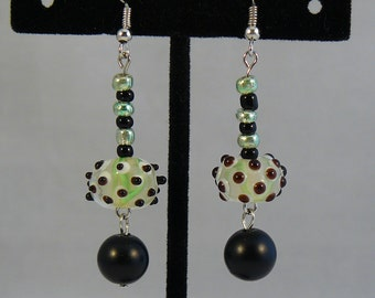 Super Funky Green and Black Bumpy Beaded Earrings