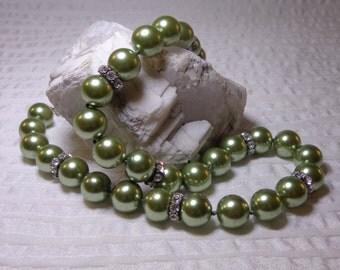 Vintage Sage Green Pearls with Rhinestones