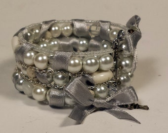 Silver White Beaded Bracelet with Opalite, Chains, Bows, Handmade