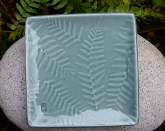 Small fern plate, celadon or peach