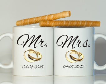 Mr and Mrs mug, Anniversary mugs, Anniversary gift, Newlyweds gift, Newlyweds mugs, Wedding anniversaries, His and her mugs, Couples gift