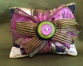 Handmade Organic Lavender Scented Sachet, Double Stacked with Check Fabric and Purple Ribbon for the holidays ~ SALE
