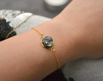 Gold Chain Druzy Bracelet | Drusy Charm Bracelet | Dark Grey or Silver Grey Resin Druzy Bracelet