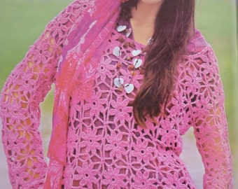 PATTERN blouse crochet, pattern crochet sweater, summer blouse, spring Top, elegant summer crochet blouse, Crochet Tunic, Pattern top