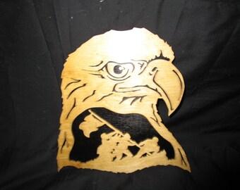 eagle head with iwo jima in it. measures11x10
